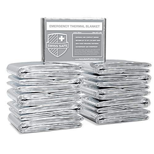 Swiss Safe Emergency Mylar Thermal Blankets, Designed for NASA, Outdoors, Survival, First Aid, Silver, 10 Pack
