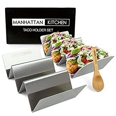 Taco Holder Stand (2 Platter Set) w/Serving Spoon - Fun Street Style Stainless Steel Metal Server Tray & Tortilla Warming Kit + Utensil for Soft & Hard Shell Prep Accessories by Manhattan Kitchen