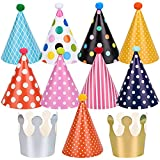 Chstarina 11 Piezas Gorros de Fiesta, Sombrero de Fiesta de Cumpleaños con Pompones, Sombrero del Corona, Decoración de Fiesta Colorida, Sombrero del Partido para los Cabritos y Adultos