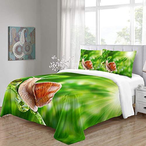 3D bäddset sniglar barn sängkläder set ultramjukt påslakan för pojkar, barn och tonåringar (1 påslakan + 2 örngott) 135 cm x 200 cm