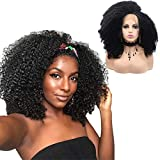 Afro Kinky Curly Lace Front Wigs Heat Resistant Fiber with Cap Replacement Wigs Swiss Natural Black Wig For Black Women (Black)