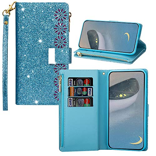JZ Galaxy J7 Pro Glitter Hollow Flower Funda For para Samsung Galaxy J7 Pro Bling Flip Cover - Blue