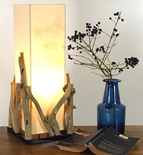 Guru-Shop Lámpara de Mesa/table Lamp Lesotho, en Bali Hecha a Mano Pieza única de Material Natural, Madera de Deriva, Algodón - Modelo Lesotho, Maderaaladeriva, 50x20x20 cm