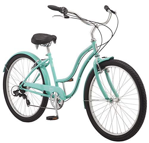 Schwinn Mikko Adult Beach Cruiser Bike, Featuring 17-Inch/Medium Steel Step-Over Frames, 7-Speed Drivetrains, Teal