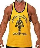 Gold's Gym Tank Top Ringer - Official Licensed - RT-1 (XL, Gold/Black)