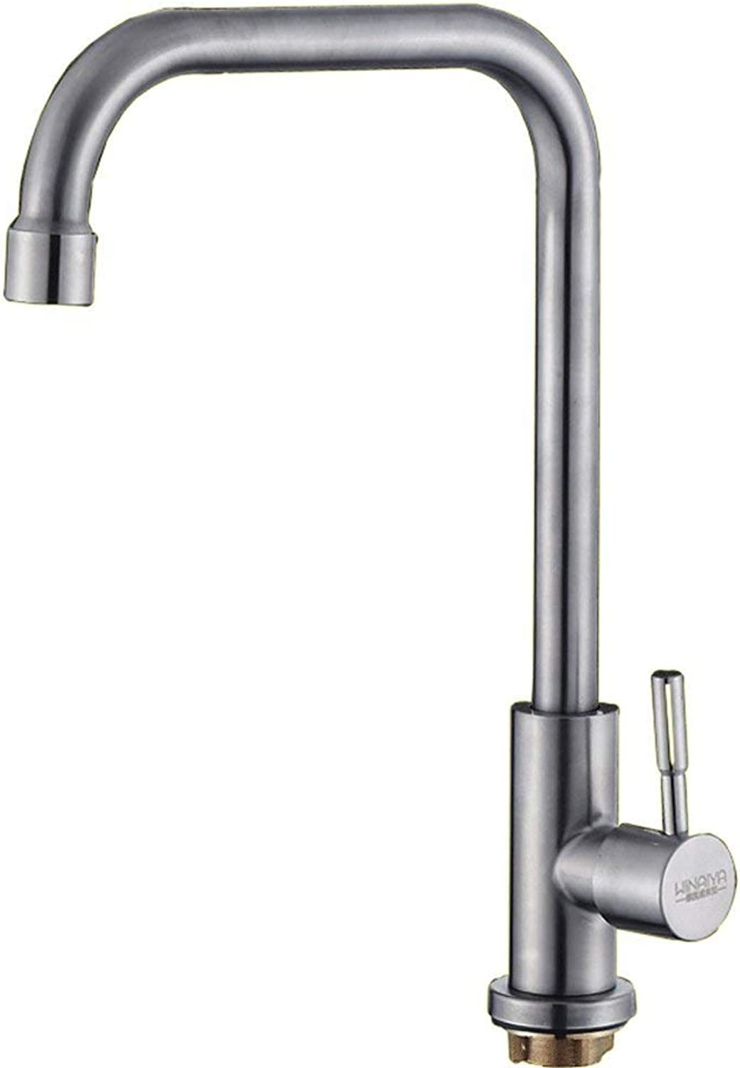 DYR Faucet Kitchen Faucet Single Cold Water Tap Spout and Drain 304 Stainless Steel Tap redary Tap