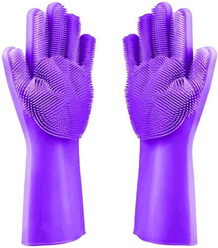Premium Waschhandschuhe aus Silikon zum Geschirr spülen (Lila) - Optimale Größe der Noppen zum Reinigen der Küchenutensilien