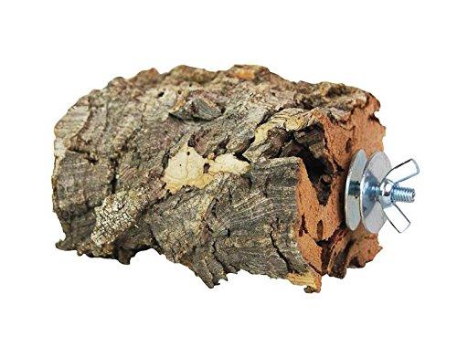 XL Kork-Pickstein für Vögel & Nager. Pickstein aus Naturkork (natürliche Korkrinde) zum Anknabbern & Knuspern | desinfiziert | Vogel Zubehör & Spielzeug aus Kork. Befestigung aus Edelstahl
