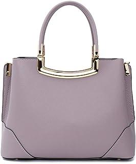 First Layer Cowhide Handbag/Handbag/Shoulder Messenger Bag/Ladies Simple Bag. jszzz (Color : Purple)
