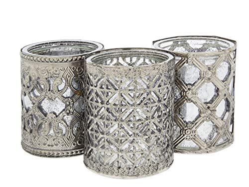 Lucky Winner Set of 3 Antique Style Round Metal and Silver Glass Candle Holder, 4'