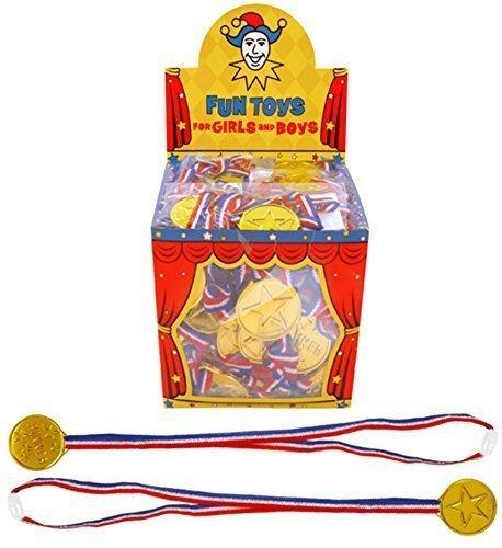 12 x Enfants Gagnant doré Médailles Cadeaux Jour De Sport Jeux Prix Remplissage De Sacs À Surprises Jouet