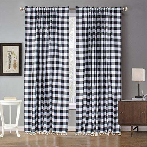 """Black and White BuffaloCheckCurtains 2 Panels 55""""x96"""" Checkered Curtains for Bedroom PlaidCurtains96inches Classic Drapes for Dining Room BuffaloCheckTasselWindowCurtains"""