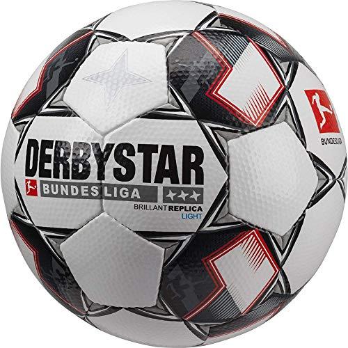 Derbystar Fußball Brilliant Ball, Weiß/Schwarz/Rot, 5