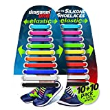 DIAGONAL ONE No Tie Shoelaces for Kids and Adults - Elastic Silicone Shoe Laces to Replace Your Shoe Strings. 20 Slip On Tieless Flat Silicon Sneakers Laces (Multicolor)