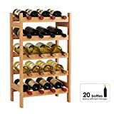 HOMECHO Wine Display Bottles Rack 20 Bottle Bamboo Storage Wine Holder Free Standing with 5-Tier Shelf Wobble-Free, 43.5 x 25 x 73 cm