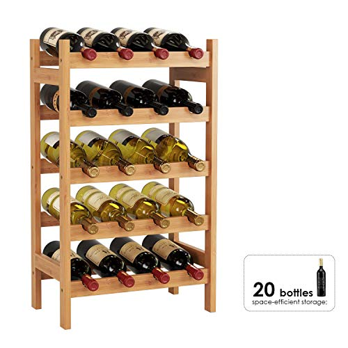 HOMECHO Bambus Weinregal für 20 Flaschen mit Ablage Flaschenregal Weinschrank Weinhalter Weinständer Flaschenständer Weinflaschenhalter 43.5 * 24.6 * 73 cm (1 Stück) | Küche und Esszimmer > Küchenregale > Weinregale | HOMECHO