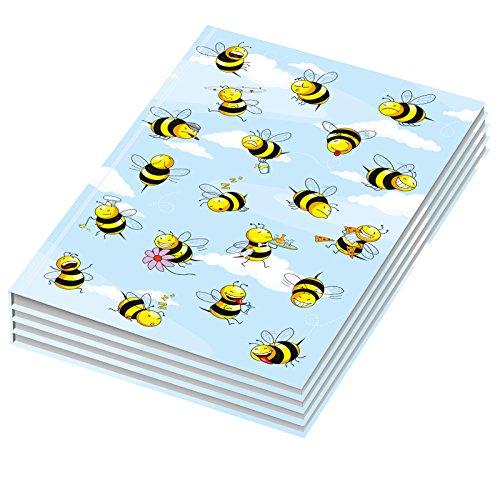 RNK Verlag - Taccuino Crazy Bees, formato DIN A4, fogli bianchi, 4 pezzi