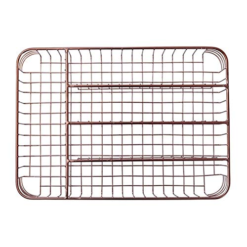 YUANYUAN521 Rose Gold Kitchen Cutlery Organizer 5-Parts Tableware Drawer Organizer Basket Utensil Storage Box Kitchen Accessories Tray (Color : Rose Gold)