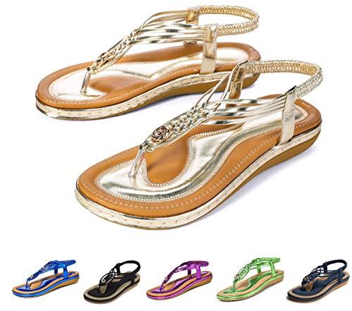 Camfosy Damen Flach Sommer Sandalen,Frauen Strand Elastischen Gemütlich Webmuster Schuhe Knöchelriemchen FreizeitUrlaub rutschfest Sommerschuhe Gold 37 EU