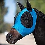 Mascarilla para caballo de Hobein, máscara para moscas con orejas, extra cómodo, de malla suave, con orejas (azul)