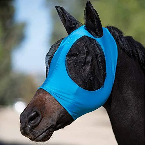 Hobein Pferdefliegenmaske, Fliegenmaske mit Ohren, Extra Comfort Horse Fly Mask Grip Soft Mesh Pferde Fliegenmaske mit Ohren (Blau)