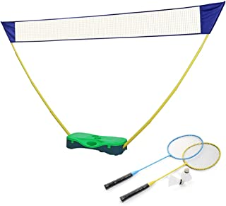 Portzon Portable Badminton Net Set, Tennis Volleyball Outdoor Backyard Folding Easy with 2 Rackets and 2 Shuttlecocks Carry Box (Green)