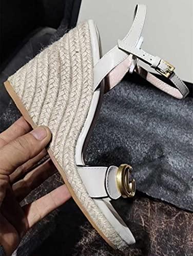 DZQQ Sandalia de Alpargatas de cuña de Plataforma Alta para Mujer Zapatos de Verano de tacón Alto de Cuero de diseñador de Lujo Zapatilla de Punta Abierta con Cordones