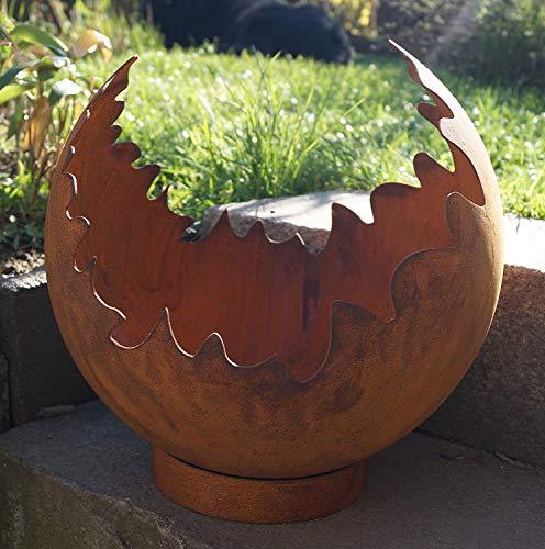 Dewoga Edelrost Deko/Feuerkugel Risse mit Standring Gartendekoration Metall