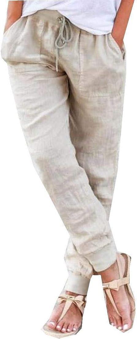 Abetteric Women Elastic Waist Drawstring High material Solid Pant Memphis Mall Casual Loose