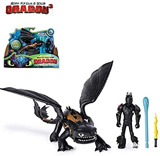 Set 2 HTTYD Toys 7 - 9 inch Hot Toy Toothless Fury Action Figures Hicup Figure Skrill Gronckle The Christmas Halloween Collectable Gift Collectible Gifts Collectibles for Kids (E with Box)