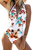 CUPSHE Women's Tie Waist Floral Print One Piece Swimsuit Halter Swimwear, M