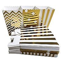 ポップコーンボックス 36個 厚紙キャンディコンテナ ゴールドキャンディボックス 誕生日パーティー ベビーシャワー ウェディング フィエスタ デザートテーブル パーティー用品 (ゴールド)