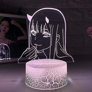 3D Night Light Illusion Lamps Led Zero Two Figure Sailor Moon 3D Anime Lamp Nightlight Kids Child Girls Bedroom Manga Gift Night Light Lamp Holiday Gifts for Kids HYKK