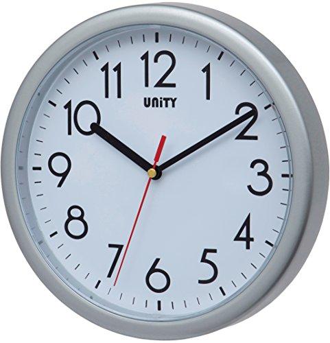 Unity Hastings- Reloj de Pared, silencioso, Moderno, 22 cm, plástico, Plateado, 22 x 22 x 5 cm