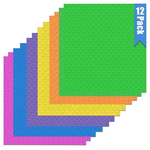 Paños suecos de celulosa a base de plantas   12 paños de cocina reutilizables ecológicos   Esponja sueca maravillosamente absorbente, se seca rápidamente (12 paños de cocina – colores surtidos)