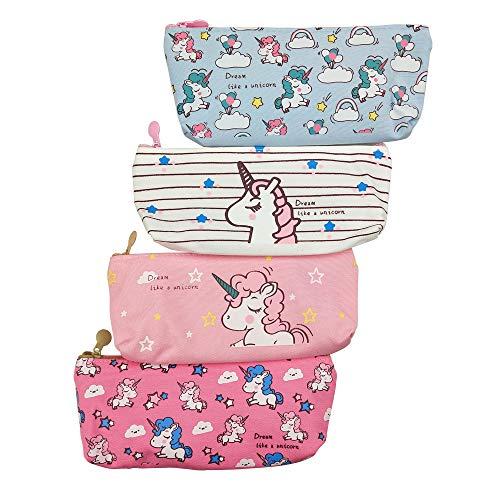 MOMOONNON 4PCS Cute Unicorn Cartoon Zipper Pencil Case Pouch Pen Holder Makeup Bag Organizer Canvas Stationery Storage Bag for Kids Girls