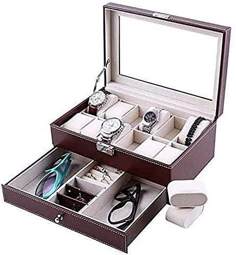 PLMOKN Caja de Reloj/Mujer de 2 Capas de 2 Capas/Cubierta de Vidrio 20-Slot de exhibición de Joyas (Color : Red, Size : 30 x 20 x 12.8 cm)