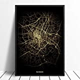 Leinwanddruck,Bangkok Schwarz Golden Custom Welt Stadtplan
