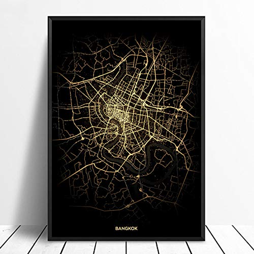 Serthny Schilderij schilderijen, Bangkok City Light Maps Custom Wereld Stadsplan Poster Kunstdruk op canvas in Scandinavische stijl Wall Art Home Decor 60x90cm (23.62×35.43inch) no frame