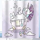 AZZXZONa Plein Polyester Tissu Rideau De La Salle De Bain Imperméable À l'eau Moisissure Hôtel Home Partition Décor Rideau De Douche Creative Bain Licorne Impression 180X200Cm 12 Crochet