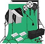 Fotostudio Set, Professionelles Fotografie Set 2x3m Hintergrund System mit 3xSoftboxen+ 12xStudioleuchte+Hintergründe(Grün/Weiß/Schwarz), Profi Studioset für Fotografie, Portrait, Videoaufnahme