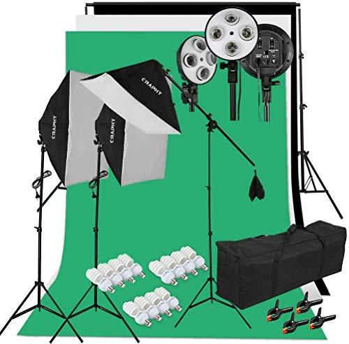 CRAPHY Greenscreen Set, 2x3m Hintergrund System mit 3 Softboxen, 12 Studioleuchten, 3 Hintergründe