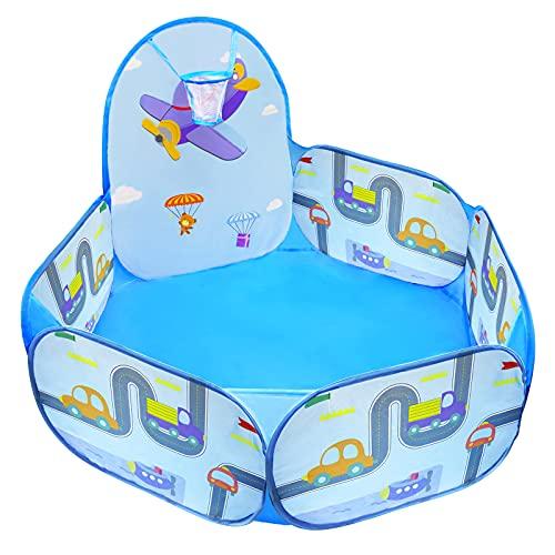 MAIKEHIGH Piscine à Balles Enfant, Pop Up Bébé Ball Pool Tente de Jeu avec Panier de Basket-Ball Jouets Cadeaux Intérieur et Extérieur (Balles Non Comprises)