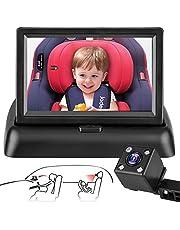 Car Camera for Baby Autocamera voor de auto, spiegel voor de achterzijde, met brede kristalhelder zicht van 4,3 inch HD infrarood nachtzicht, ademt op de baby, gemakkelijk de beweging van de baby te observeren