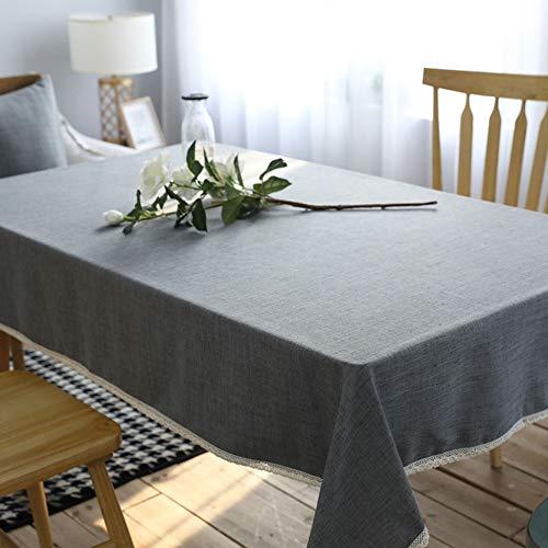 PLIENG Algodón Y Lino Rectángulo Mantel Moderno Color Sólido Mantel Decorativo Mesa De Comedor Banquete Mesa De Café Paño,Grey-60x60(24x24in)