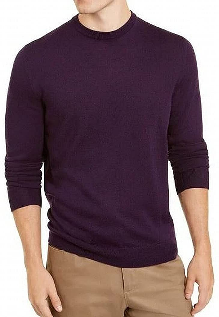 Alfani Mens Sweater Medium Pullover Wool Crew Regular Fit Purple M