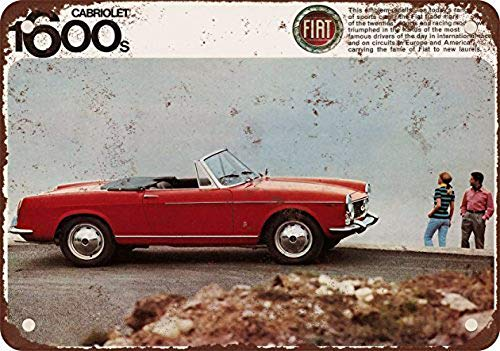 BIT LINA FIAT S Cabriolet Retro Tin Signs Metal Vintage Signs Auto Motorcycle Gasoline Garage Home Wall Decoration Metal Plaques12 X 185 Inch