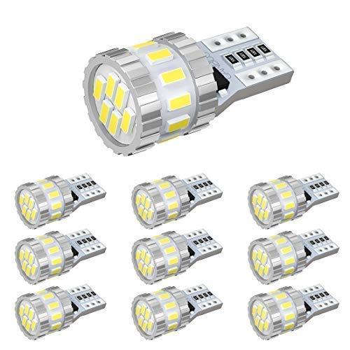 BORDAN T10 LED ホワイト 爆光 キャンセラー内蔵 ポジションランプ ナンバー灯 ルームランプ 高耐久 無極性 3014LED素子6000K DC12V 2.4W 10個入