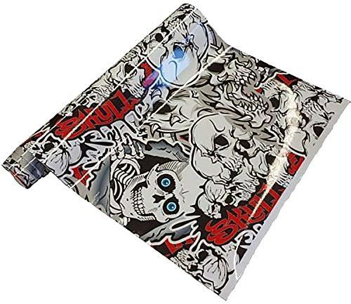 Neoxxim 8€/m2 Premium - Auto Folie - Stickerbomb Folie Skull SCHWARZ Weiss 50 x 150 cm - JDM Dub Klebefolie - blasenfrei mit Luftkanälen Klebefolie Selbstklebefolie selbstklebend flexibel