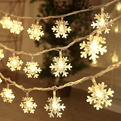 Christmas Lights 20 Ft 40 Led Snowflake String Lights Battery Operated Waterproof Fairy Lights for Bedroom Patio Room Garden Party Home Xmas Decor Indoor Outdoor Christmas Tree Decorations Warm White